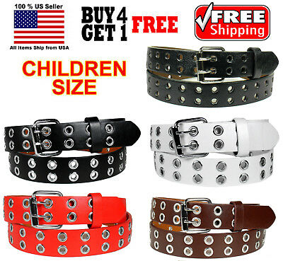 KIDS CHILDREN BOYS GIRLS 2 HOLES ROW GROMMETS Bonded Leather Belt Silver Buckle
