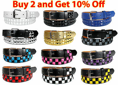 KIDS CHILDREN METAL STUDS LEATHER BELT Silver Belt Buckle Boys Girls S M L XL