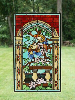 "Large Tiffany Style stained glass window panel Love Bird Two Parrot 20.75"" x 35"""