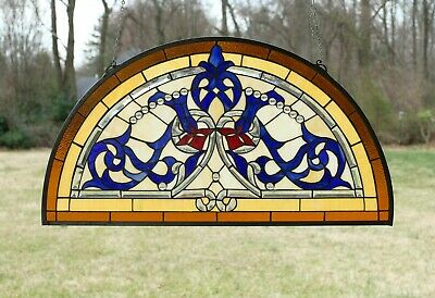 "Tiffany Style stained glass window panel Half Round Beveled Glass 34"" x 18.25"""