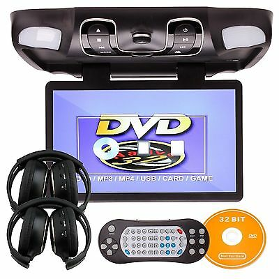 CA 15.6INCH In Car Roof Mount Flip Down DVD Game Player+FREE Headphones
