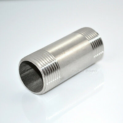 """1/2"""" Male x  1/2""""Male Threaded Pipe Fitting 75MM Stainless Steel SS304 NPT NEW"""