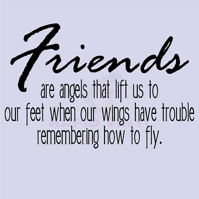 FRIENDS ARE ANGELS FLY WINGS Wall Decal Wall Sticker Home Family Wall Art Decal