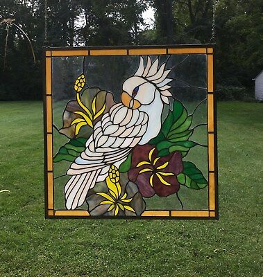 """stained glass window panel Parrot W/ Flowers 24.75"""" x 24.75"""""""