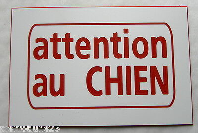 plaque gravée ATTENTION AU CHIEN PLAQUE SIGNALETIQUE ft 100 x 150 mm