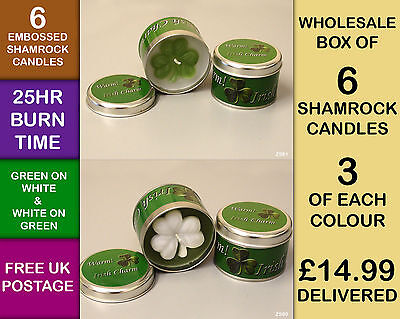 JOB LOT Irish Shamrock Lily White  Embossed Scented Candle Flame Tin Wax ZS806