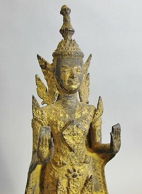 "18th C. Thai 14"" Gilt Bronze Standing Diety Sculpture  c. 1800 or earlier  Asian"