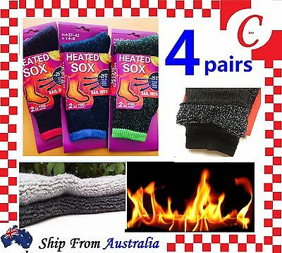 4Prs Womens Women Thick Winter Warm Thermal HEATED Heat Cushion WORK SOCKS Bulk