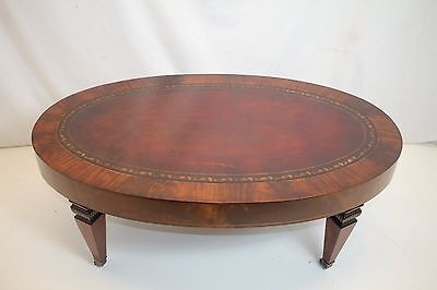 Outstanding English Leather Top Coffee Table on Wheels