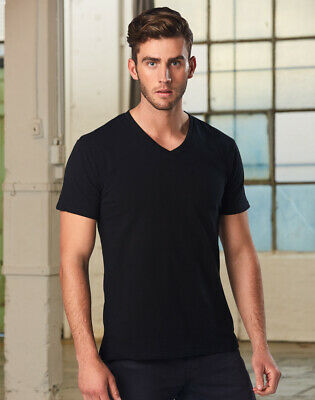 New Mens Vneck Short Sleeves Tshirt Men's Top Casual Dress Work Cheap Black