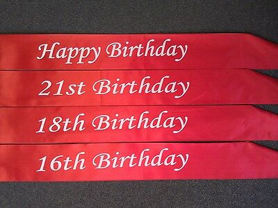 Happy Birthday 16th 18th 21st Red Satin Sashes