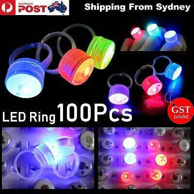 100x LED Flashing Ring Finger Shiny Fashion Party Light up Glow in the dark shin