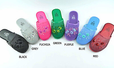 Women's Embellished Floral Net Beans & Mesh Chinese Slippers 1pr/2prs Pack(801)