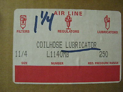 "NEW CoilHose Pneumatics In-Line Air Line 1.25"" Lubricator 1 1/4"" L1140MB 250 Pr"