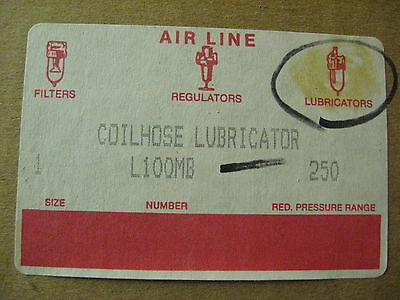 "NEW CoilHose Pneumatics In-Line Air Line 1"" Lubricator L100MB, Metal Bowl 250 PR"
