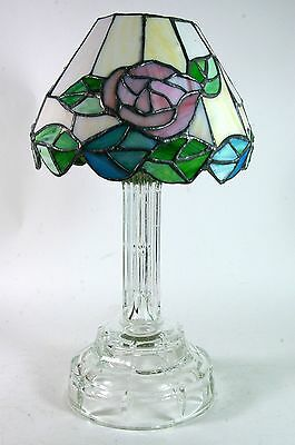 Crystal Candle Holder Stained Glass Shade Votive Tealight