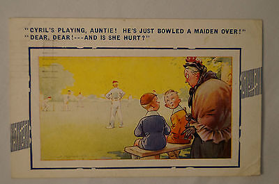 Vintage - Comic - Cricket - Postcard - Cyril's Playing Auntie.