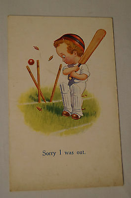 Vintage - Comic - Cricket - Postcard - Sorry I Was Out.
