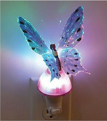 Butterfly Optic Fiber Color Changing Plug Night Light Lamp motion detection bulb