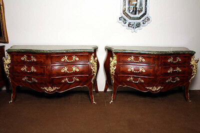 Huge Pair Louis XV Walnut Kingwood Commodes Chests