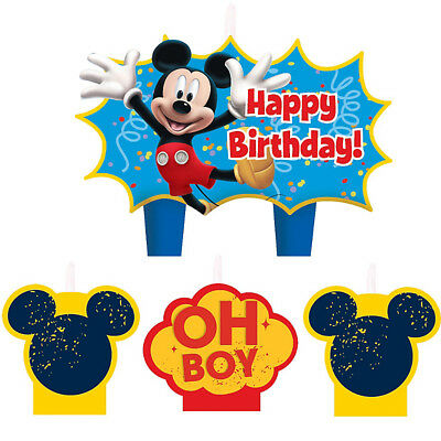 Mickey Mouse Birthday Party Supplies Candle Mini Moulded Pack Of 4