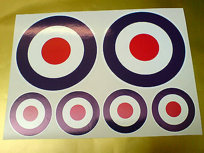 RAF ROUNDELS Scooter Aeroplane Model Car Van Stickers Decals 4 x 50mm & 2 x 100