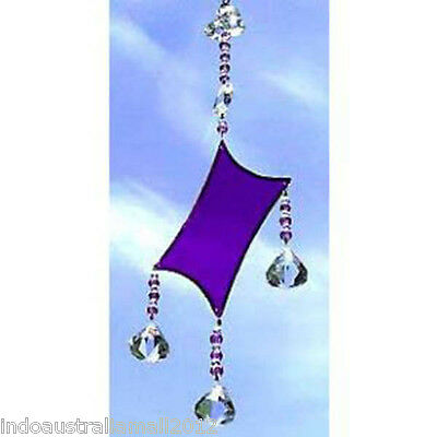 1 X Purple Glass Diamond Shaped Light Catcher in the Gift Box (SC004)