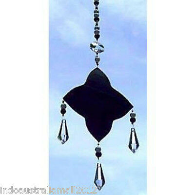 1 x Black Glass Light Catcher with Pearls and Crystals  (SC002)