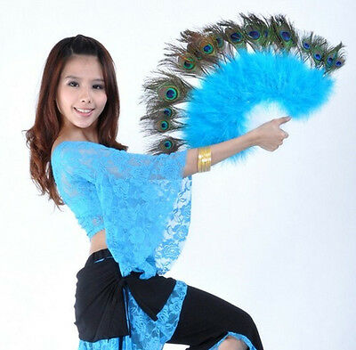 Belly Dance Accessory Dancing Peacock Feather Fan 10 Colors