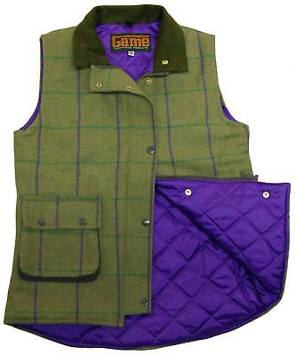 Womens Game Abby Tweed Gilet Quilted Bodywarmer - Purple