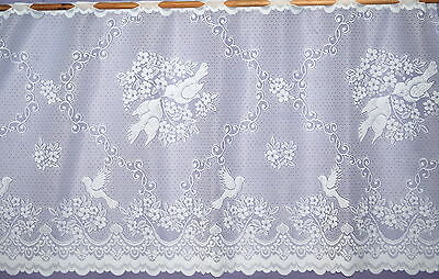 "LOVE BIRDS CAFE NET CURTAIN WHITE IN THREE DROPS 12""( 30cm )18""( 45cm )24""(60cm)"