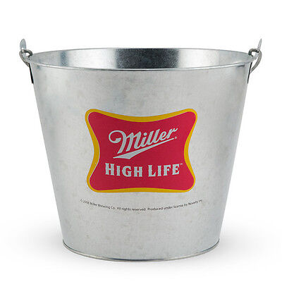Miller High Life Steel Beer Bucket  - Beer Bottle Ice Holder- Metal Carry Handle