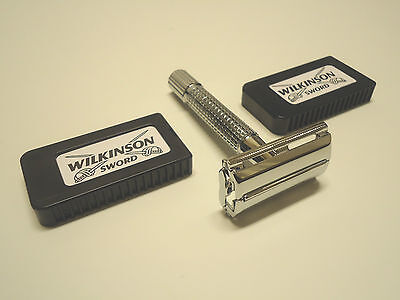 Chrome Plated Old School Classic Safety Razor + 10pcs German Double Edge Razors