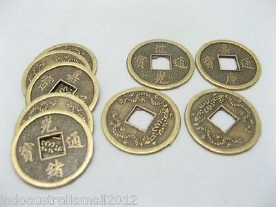 100 PCS Chinese Feng Shui Fortune Auspicious Coins/I Ching/Double Dragon +Pouch
