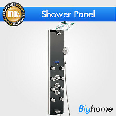 """51"""" Thermostatic 8 Jets Spa Massage Black Tempered Glass Shower Panel Tower"""