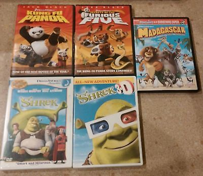 Dreamworks Kung Fu Panda Madagascar Shrek Dvd Movie Lot of 5