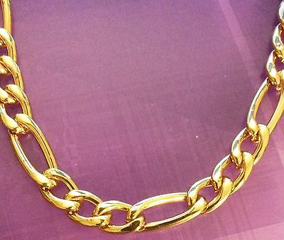 """gcn 18k GOLD FILLED 20"""" / 50cm x 6mm Figaro curb chain necklace Plum UK BOXED"""
