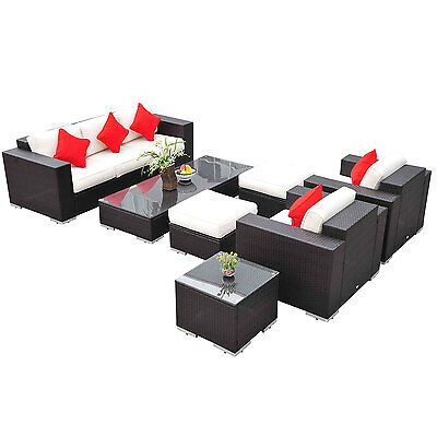 Deluxe 7pc Outdoor Rattan Wicker Sectional Patio Furniture Sofa Chair Couch Set