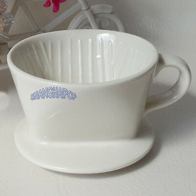 Ceramic Coffee Filter Cone Porcelain Drip Cup Maker Holder W/ Handle Kitchen