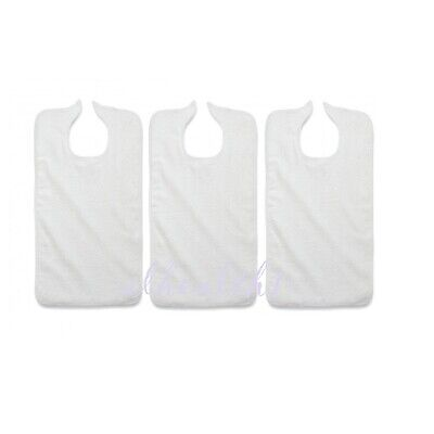 Terry Cloth Adult Bibs, Hook and Loop Closure. Lot of three(3). ~NEW~  Free Ship