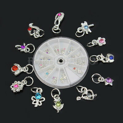 24× 3D Alloy Dangle Charms Rhinestones Nail Art Tips Glitters DIY Decoration