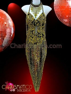 8c471c4104b5 CHARISMATICO Black and gold beaded deep V-Hem Dance dress with gold sequins
