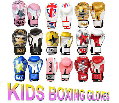 Kids Boxing Gloves Punch Bag Sparring Training Mitts MMA 4oz- 6oz- 8oz- R A X
