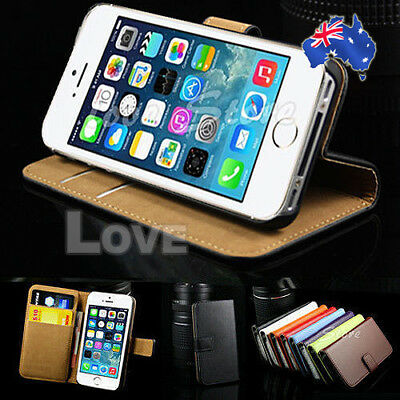 iPhone 5S 5 Genuine Leather Flip Wallet Case Cover For Apple