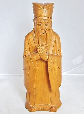 "Vintage ? Chinese Hand Carved Boxwood Wood Official or Immortal Statue  (9.35"")"