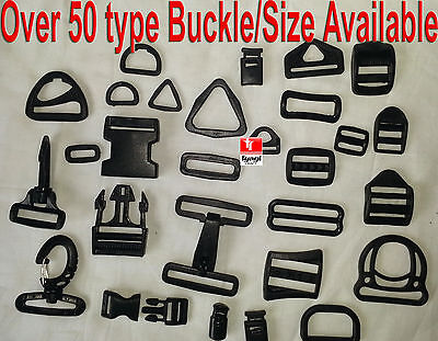Black Plastic Side Release Buckles For Webbing bags straps 3 BAR SLIDES Clip