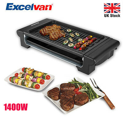 Excelvan Electric Teppanyaki Grill Griddle Indoor BBQ Barbecue 1400W Camping UK