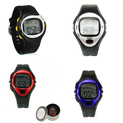 Sport Watch Digital Pulse Heart Rate Monitor Calorie Burn Counter red blue black
