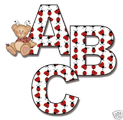 Ladybug Alphabet Letter Wall Decal Personalize Baby Nursery