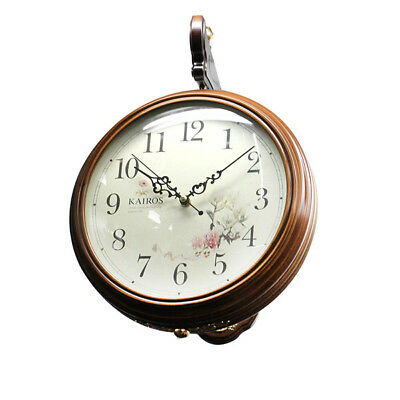 BN Wooden Vintage Style Wall Clock Double-Faced 180 Degree Home D̩cor